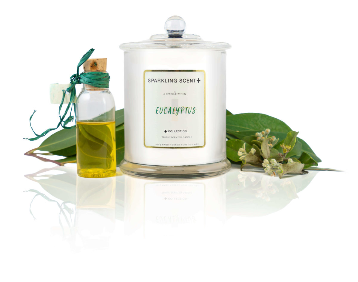 Glossy white shining French Gala Candle with a gold and white sticker. Surrounded by what you can imagine from the scent. Eucalyptus leaves & flowers and glass bottled eucalyptus essential oil.